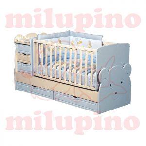 Bebi snovi Meda krevetac 4u1 Blue
