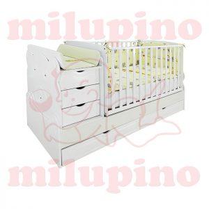 Bebi snovi Meda krevetac 4u1 White