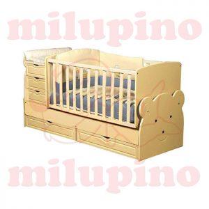 Bebi snovi Meda krevetac 4u1 Yellow