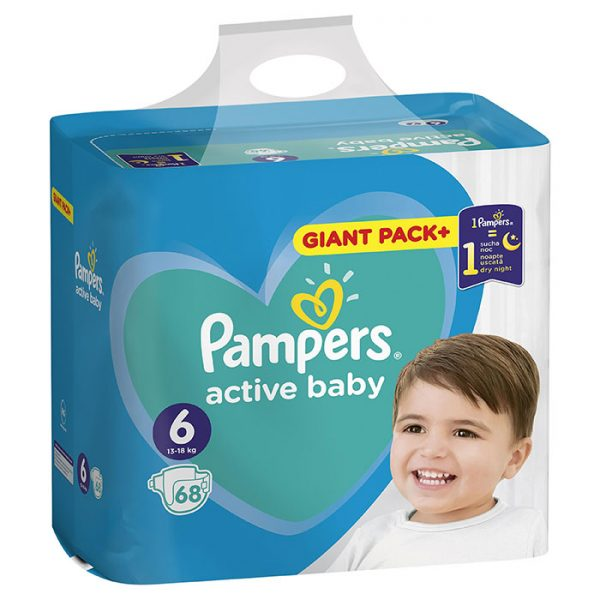 Pampers Active Baby Giant Pack Extra Large 6 (13-18kg) 68 kom