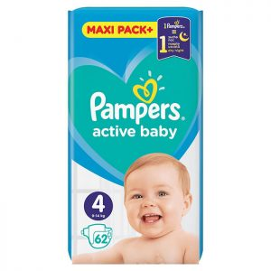 Pampers Active Baby Jumbo Pack Maxi 4 (9-14kg) 62 kom