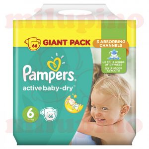Pampers Active Baby-Dry Giant Pack Extra Large 6 (15+kg) 66 kom