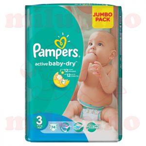 Pampers Active Baby-Dry Jumbo Pack Midi 3 (4-9kg) 74 kom