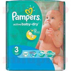 Pampers Active Baby-Dry Midi 3 (4-9kg) 22 kom