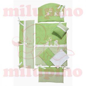 Posteljina za krevetac Tri drugara zelena