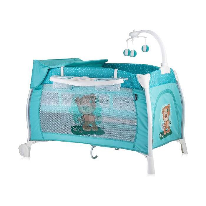 Lorellli Bertoni prenosivi krevetac I'Lounge 2 nivoa Green cute bear