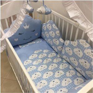 Posteljina za krevetac Ready Oblačić Plava