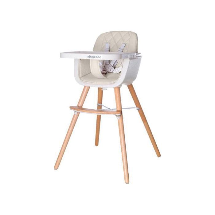 KikkaBoo drvena stolica za hranjenje Woody beige