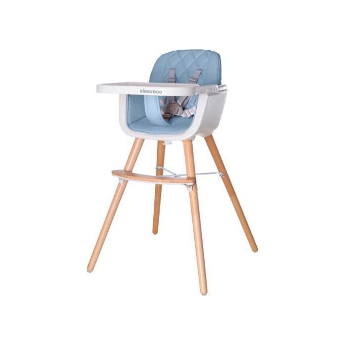 KikkaBoo drvena stolica za hranjenje Woody blue