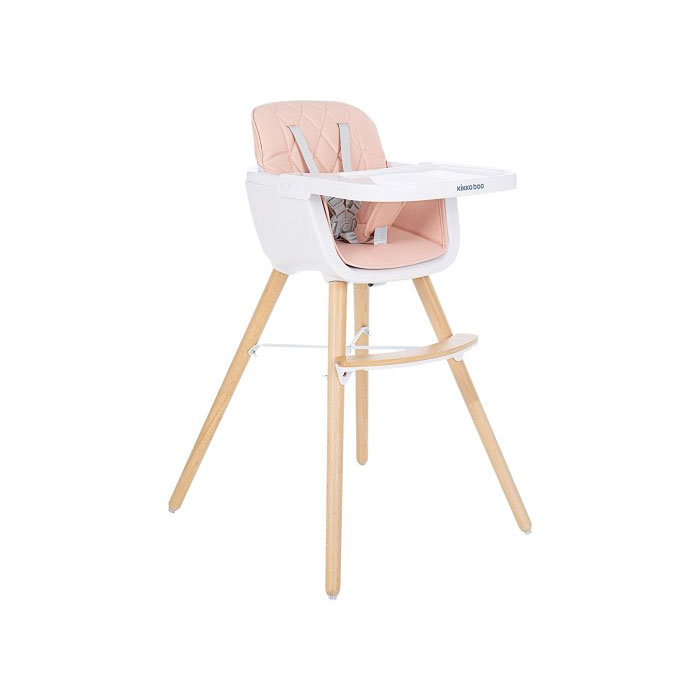 KikkaBoo drvena stolica za hranjenje Woody pink