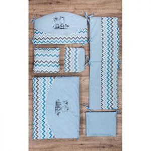 Fim posteljina za krevetac A75 zebre plava