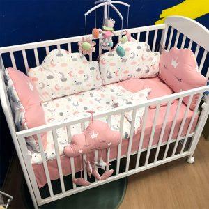 Posteljina za krevetac Ready Oblačić Belo roze