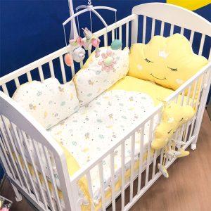 Posteljina za krevetac Ready Oblačić Žuta