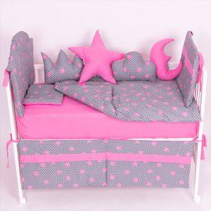 Posteljina za krevetac Ready Zvezdica Roze
